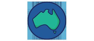 Australia on the globe