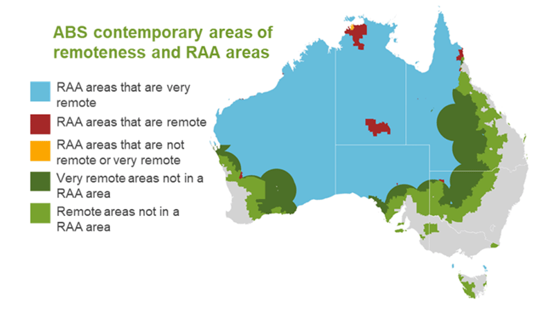 ABS contemporary areas of remoteness and RAA areas