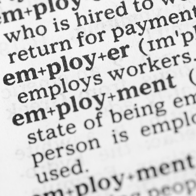 Macro zoom of dictionary meaning for a range of employment related words.