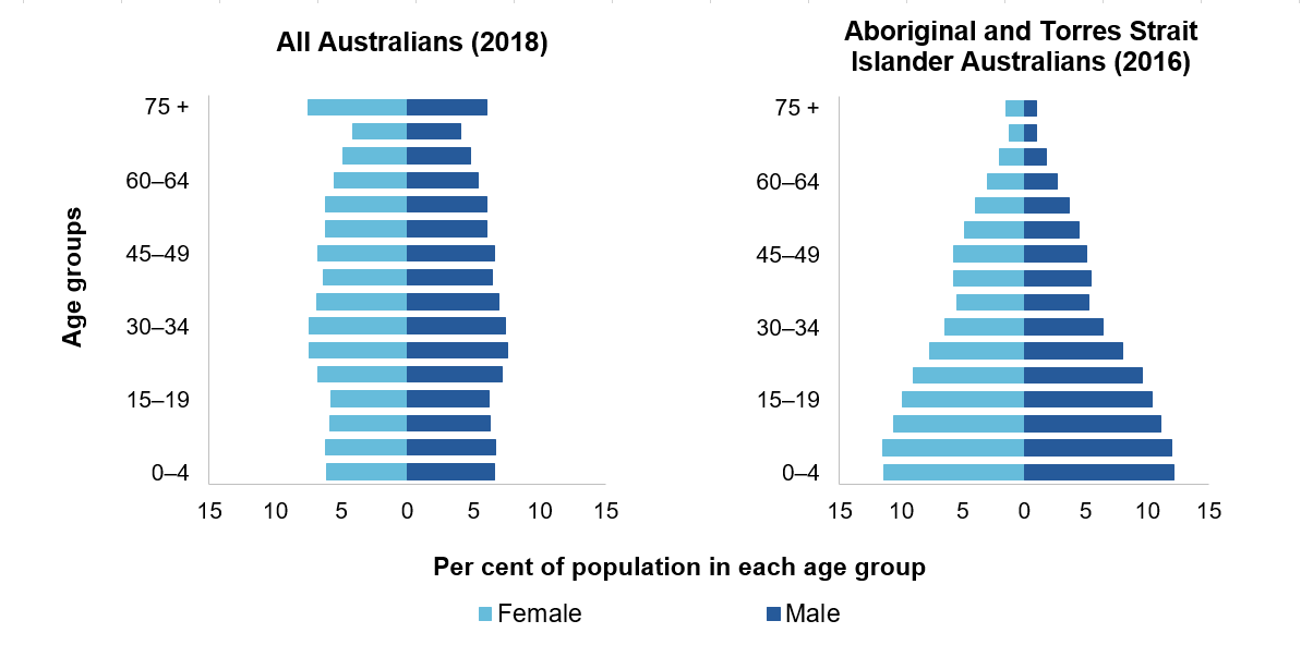 Figure 2.1 — Population distribution, Australia, by age and sex, 30 June